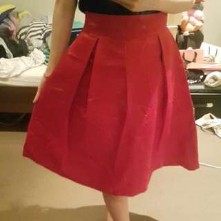 High Waisted Knee Length A Type Skate Skirt