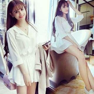 顯瘦連身純白襯衫 可外搭內穿 實搭好穿