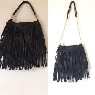 Black Fringe Removable Strap Bag