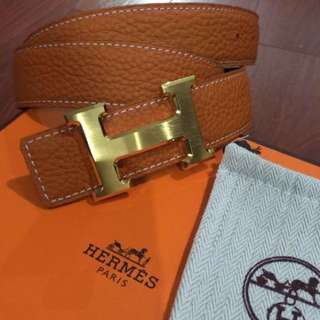 HERMES Reversible Belt With H Gold Buckle