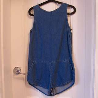 Topshop Denim Playsuit Size 8