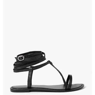 Black Wrap Strap Sandal Sandals