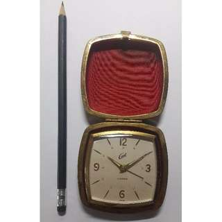 Vintage Coral 2-Jewels Travel Alarm Clock