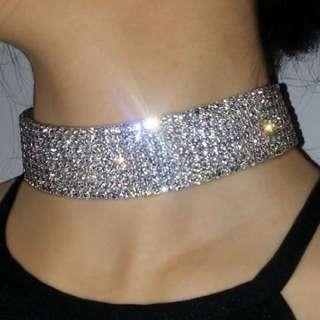 Meshki Boutique Silver Crystal 8 Row Choker Necklace