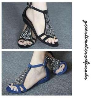 Sandals with Silver Beads - Size 5, 6, 7, 8, 9