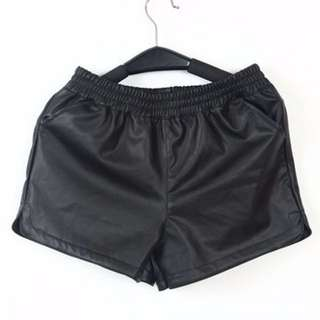 Black Leather High Wasted Shorts