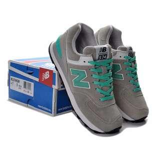 NEW BALANCE 復古運動鞋--灰+蒂芬妮綠 ML574KGM