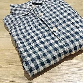 Uniqlo 男裝亞麻格紋襯衫