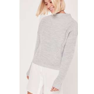 MISSGUIDED HIGH NECK JUMPER IN GREY