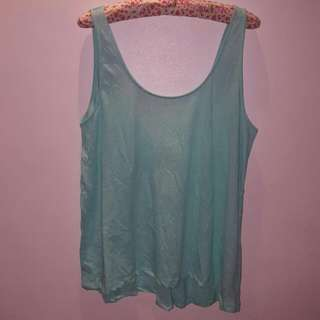 H&M Oversized Mint Green Sleeveless Shirt - Sz M