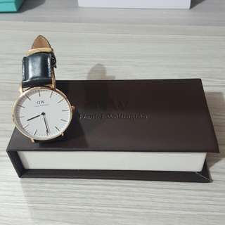Daniel Wellington 玫瑰金X黑錶帶 36mm DW女錶