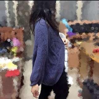 紫芋色飛鼠袖針織外套
