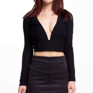 Sirens Crop Top, Low V Neck With Wiring