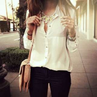 White/Cream Chiffon Blouse With Gold Buttons