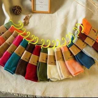 (淺咖灰 軍綠 丈青 咖啡現貨)韓國堆堆襪學院風長襪子秋冬款純色女襪中筒潮純棉襪日系短靴襪套