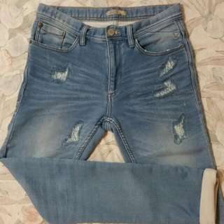 Blend 淺藍刷白小破壞窄管褲-W29L32