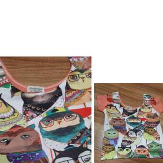 Reserved! Hip Culture Owl Croptop