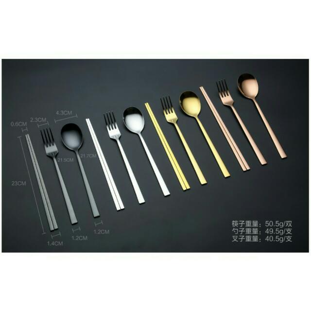 🎀韓國304不鏽鋼實心扁筷子叉子套組