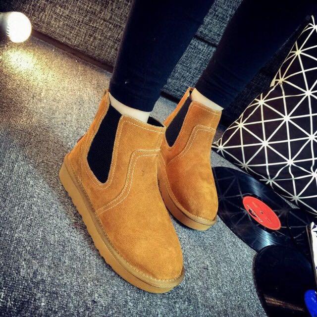 英倫風磨砂內加絨靴