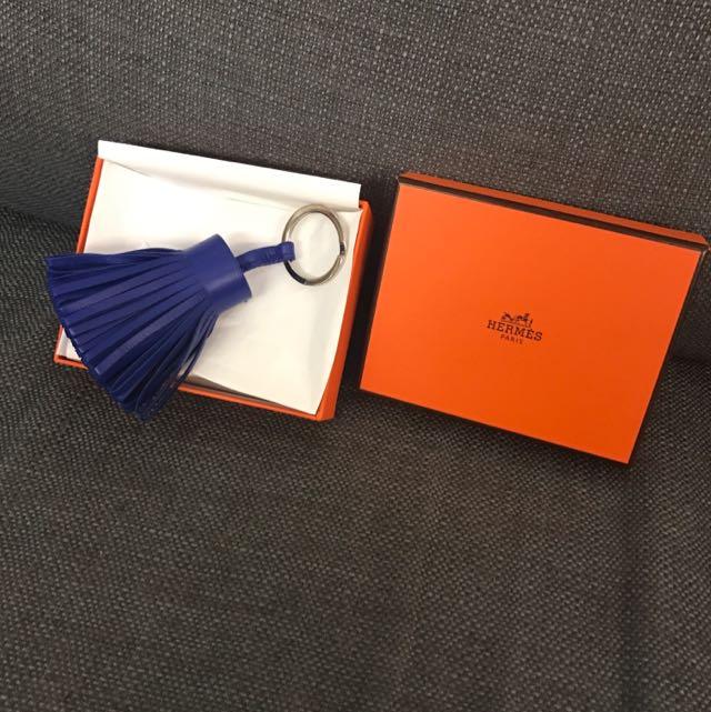 愛馬仕 草裙鑰匙圈 Hermes Carmen 電光藍吊飾 掛飾