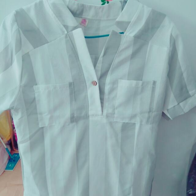 白媽媽 小v領 短袖襯衫 #我的女裝可超取