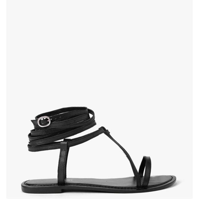 Black Wrap Strap Sandal Sandals