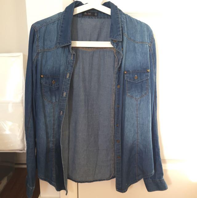 Blue Denim Shirt Top