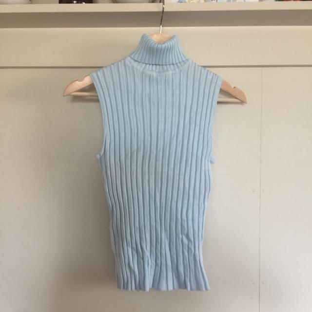 Blue Knit Turtleneck