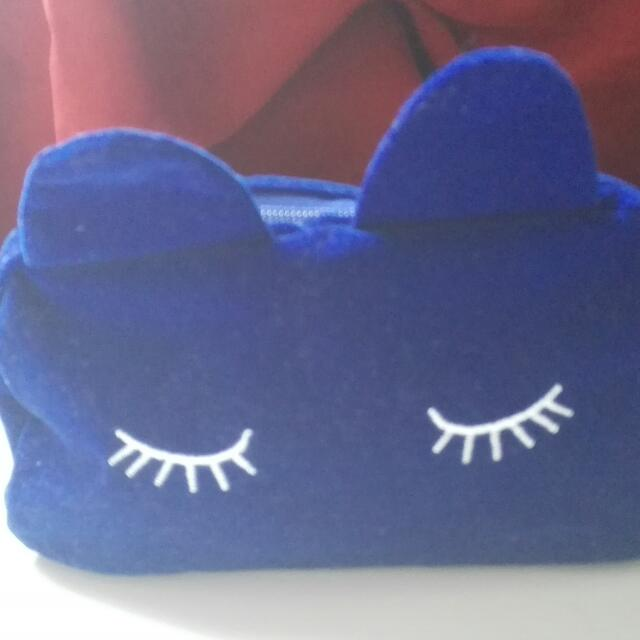 blue rabbit cosmetic pouch with pompon