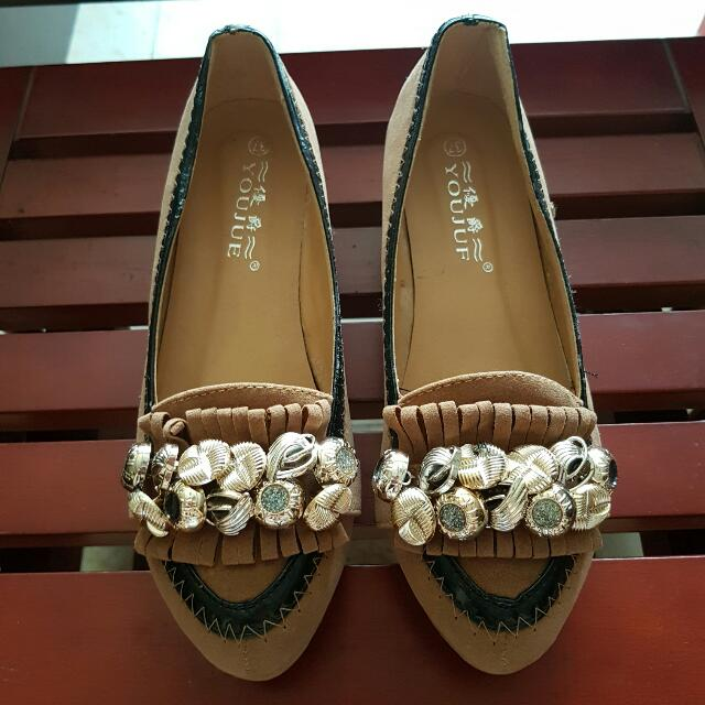 Brown Semi-Platform Doll Shoes