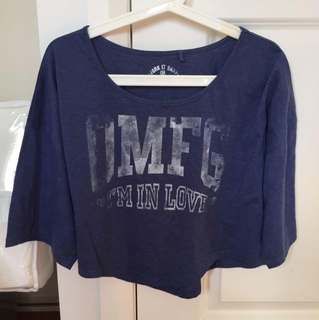 Factorie Blue omfg 3/4 Sleeve Top Tee