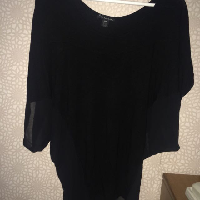 FOREVER21 Black Batwing Top
