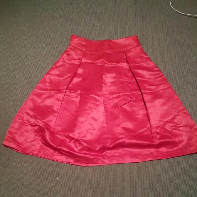 High Waisted Knee Length A Type Skate Skirt