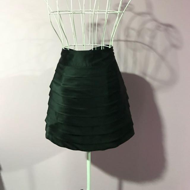 Jigsaw Designer Black Satin Skirt - Size 8