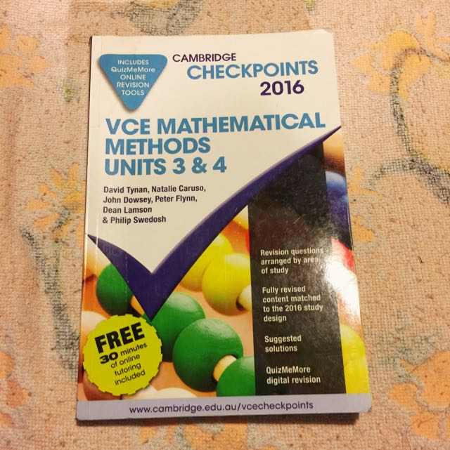 Maths Methods Cambridge Checkpoints 2016