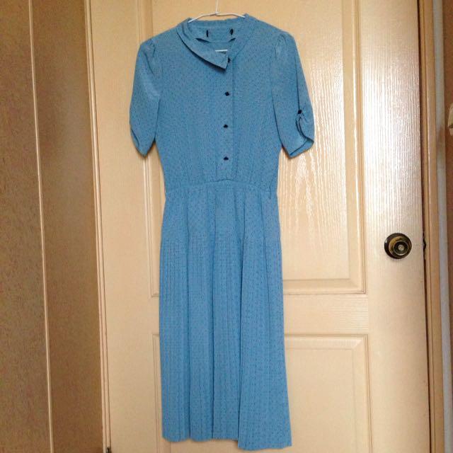 (保留)morning deer古著短袖典雅藍洋裝