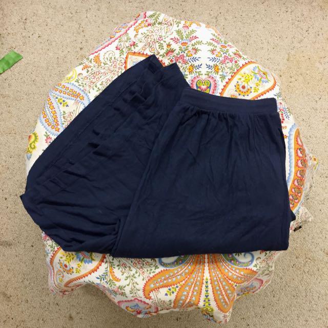 Navy Cotton Maxi Skirt