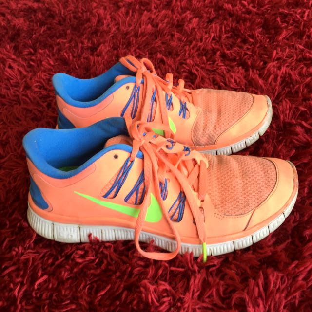 Nike Free 5.0 - Coral/Blue - Size 8 (39)