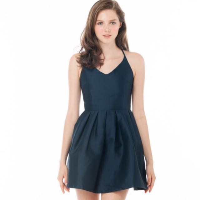 2478992cd22b Ninth Collective Beryl Low Back Skater Dress In Midnight Blue ...