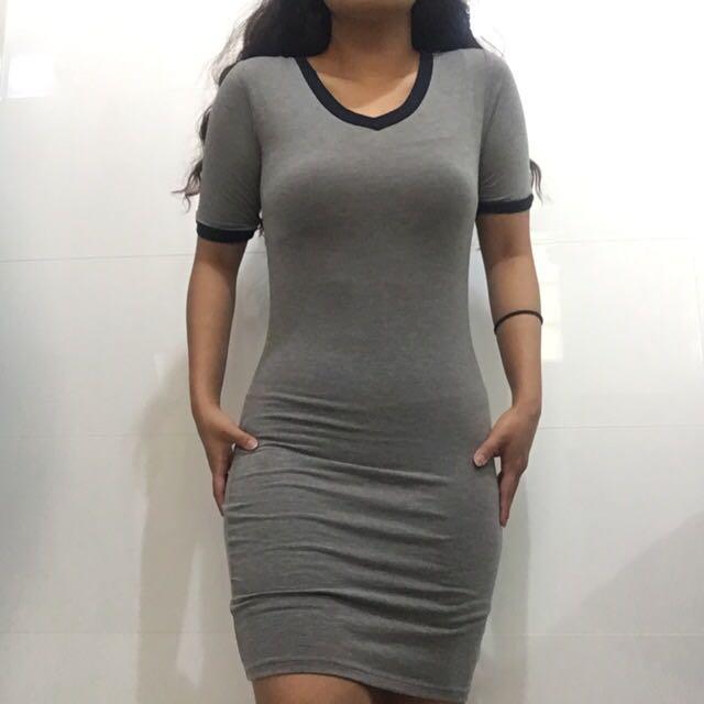 Nude Lucy Basic Grey Unique Bodycon Dress