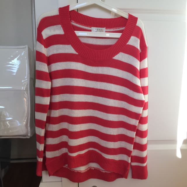 Red And White Striped Thin Knit