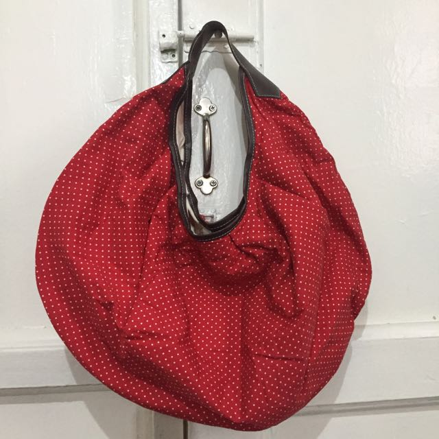 Red Polka Hobo Bag