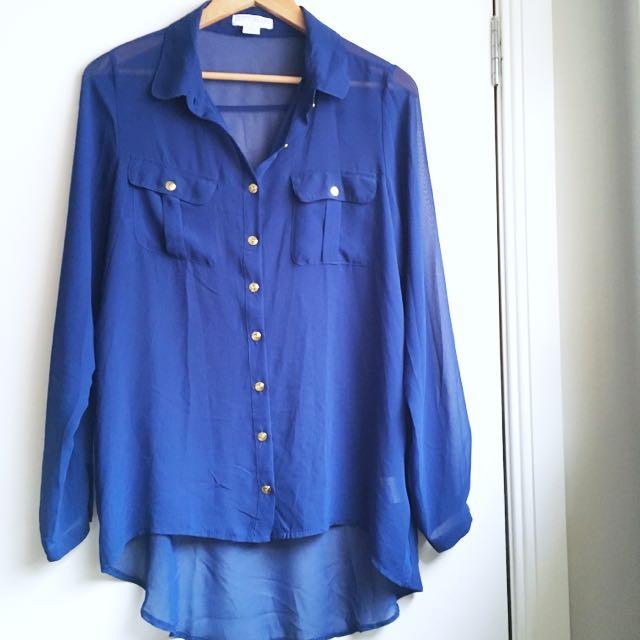 Royal Blue Sheer Shirt