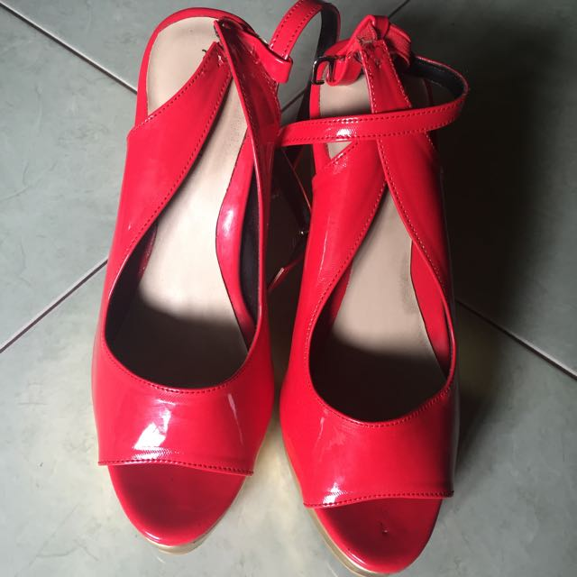 Shoelabel Red x Gold Pump Heels #NY50