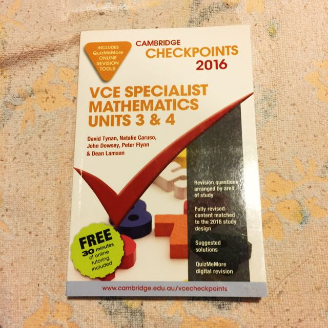 Specialist Maths Cambridge Checkpoints 2016