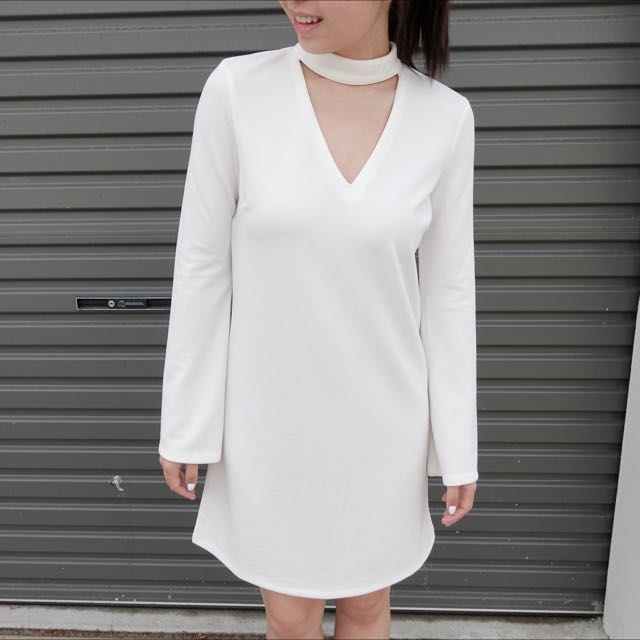 Temp White Choker Dress