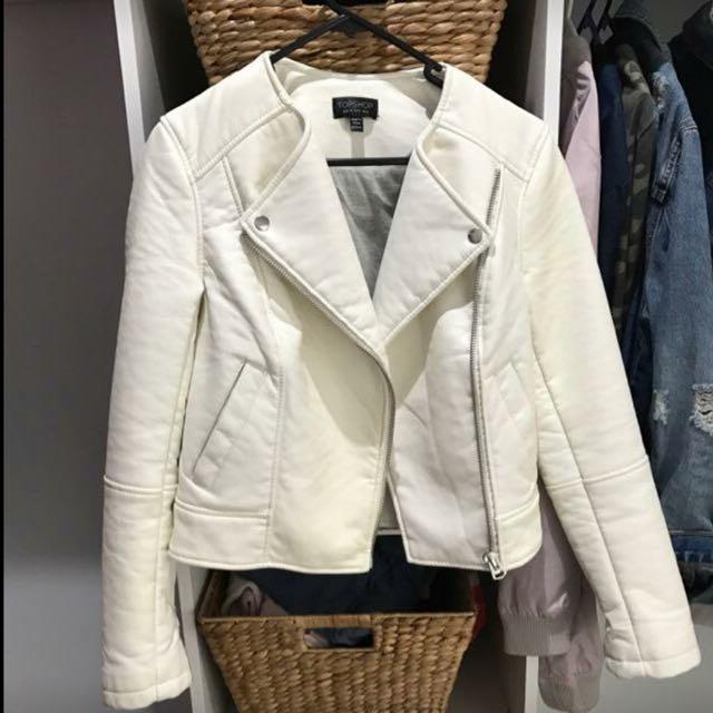 Topshop White Biker Jacket Size 8