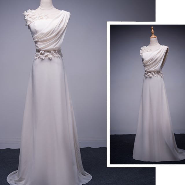 White Grecian Gown With Flower Details, Women\'s Fashion, Clothes ...