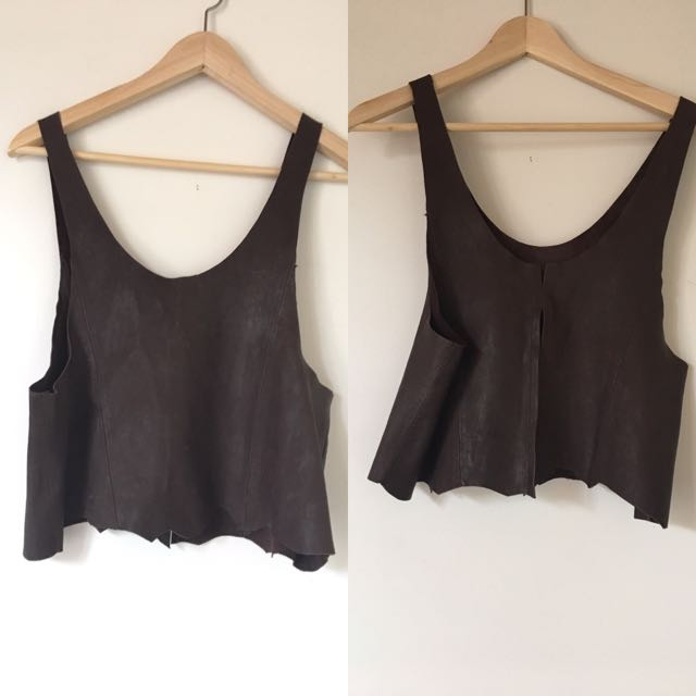 Women's 100% Leather Cropped Top