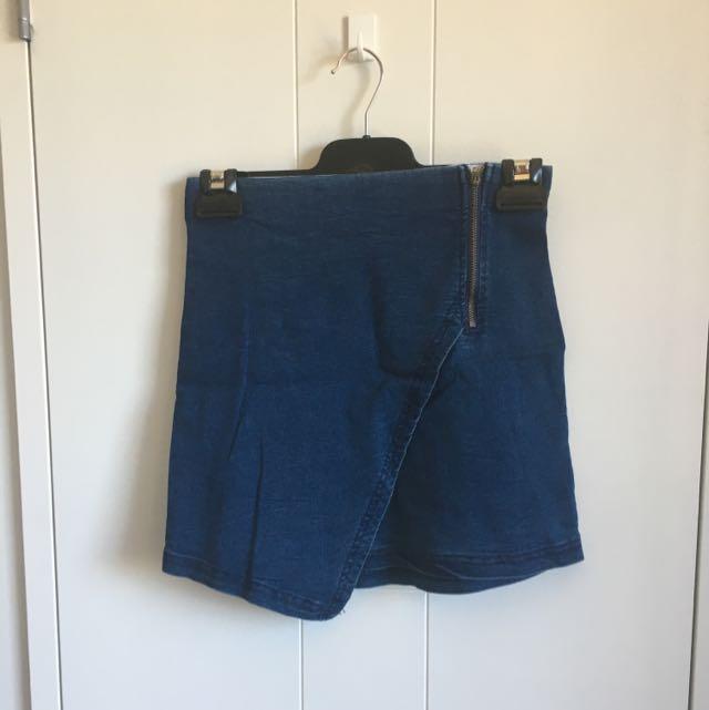 Wrapped Denim Skirt
